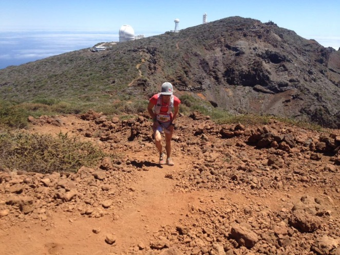 Approaching Roque de los Muchachos. Views of the astrological observatories behind. Photo: iRunFar