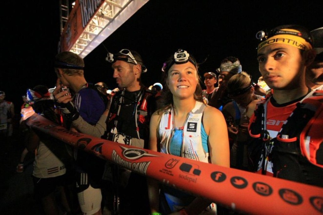Former World Skyrunning champion Emelie Forseberg at the Transvulcania 73.3k start line. Photo: iRunFar