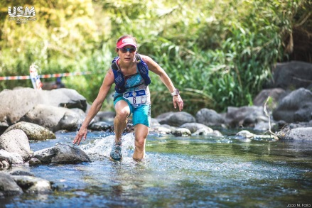 Racing Ultra SkyMarathon Madeira in the La Sportiva Sprint Tank, Blaze Tight Short, Akasha, Feetures Merino+ socks, Julbo Breeze Sunnys, and Hammer Nutrition Visor. With the Ultimate Direction Vesta Pack.
