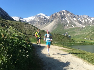 Running around Lac du Tignes with Grand Motte glacier visible in background. Photo: Andrew Pattison