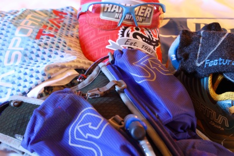 Kit from Ultra Skymarathon Madeira. I used the Adventure Vesta this time for increased capacity to accommodate the larger required kit.